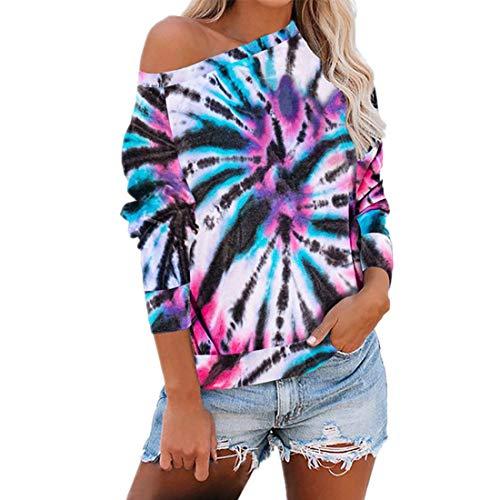 Z&Y Glaa Frauen Tie Dye Tops Sweatshirt Mode Rundhalsausschnitt Lässig Langarm Top...