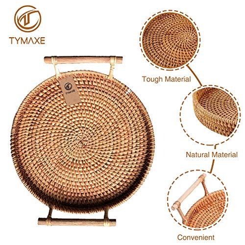 Tymaxe Rattan Basket - Bread Baskets for Serving - Perfect as Fruit Basket, Woven Basket Serving Tray, Decorative Tray, Coffee Table Tray - Outdoor Basket Serving Tray with Handles (28Cm/11Inch)