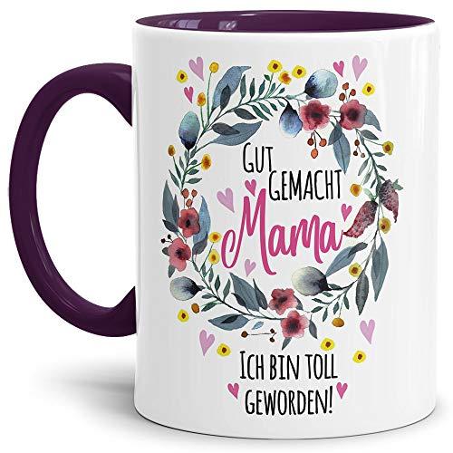 Tasse mit Spruch für Mama - Danke - Kaffee-Tasse/Geschenk-Idee Muttertag Geburtstag/Muttertagsgeschenk/Für Meine Mutter - Innen & Henkel Violett