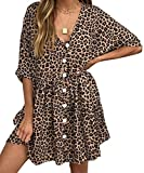 ECOWISH Women's V Neck Button Down Leopard Floral Dress Short Sleeves Loose Top Dresses with Pockets (Small, Khaki)