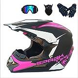 Juego de casco de motocross unisex, casco de cross con máscara de protección, gafas de protección (B,M)
