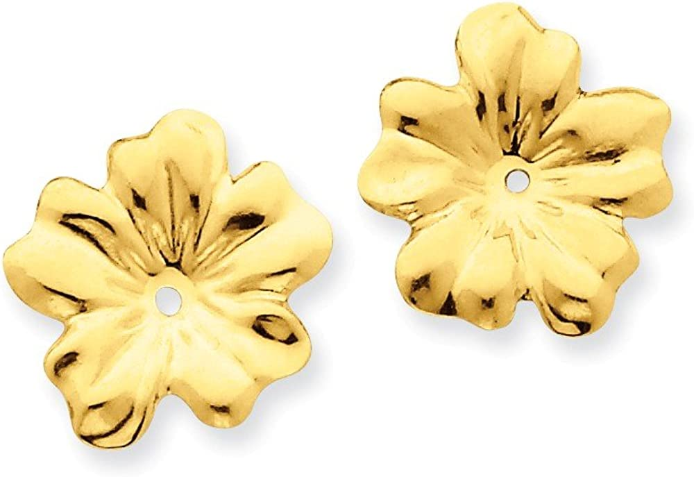 Genuine 14k Yellow Gold Polished Floral Earring Jackets 11x11mm