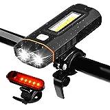 WZTO Luci per Bicicletta,Luce della Bici USB Ricaricabile LED Impermeabile Set LED Luci Anteriori e Posteriori 500 Lumen per Esterni Ciclismo Tutti i Tipi di Sport (Nero)