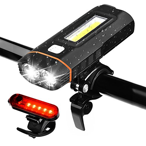 Juego de Luces para Bicicleta, WZTO Juego de Lámparas LED para Bicicleta Recargable USB Impermeable, 5 Modos de Lluminación, Capacidad de la Batería de 4000 mAh, 500lm