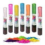 7 Stück Holi Powder Shooter Farbpulver Kanonen Party Spass mit 7 Farben a 60g Holi Powder