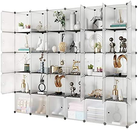 KOUSI Portable Storage Cubes 14 x14 Cube 30 Cubes More Stable add Metal Panel Cube Shelves with product image