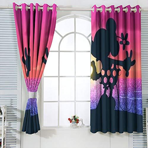 Cortinas aisladas Mic-key Min-nie Mouse Cortinas para niños sala de estar oscurecimiento de la habitación, cortinas opacas para ventana de 132 x 163 cm