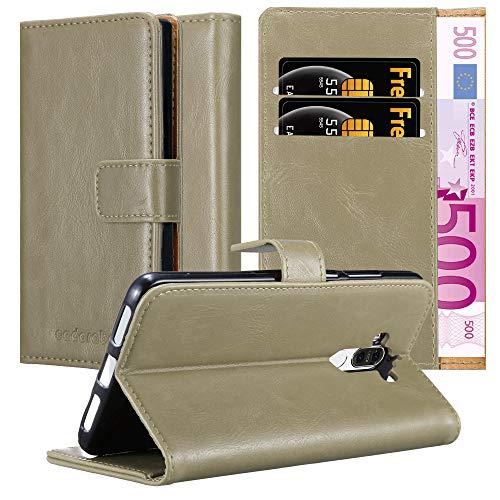 Cadorabo Hülle für Huawei Mate 9 in Cappuccino BRAUN – Handyhülle mit Magnetverschluss, Standfunktion & Kartenfach – Hülle Cover Schutzhülle Etui Tasche Book Klapp Style