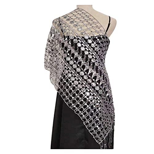 miaoyu Elegant Sequin Fringed Shawls Ladies Temperament New Evening Dress Cheongsam Accessories Bride Bridesmaid Wedding Party Shawls (Color : Gray)