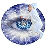 Alfombra linda alfombra de dormir alfombra redonda mullida suave alfombra para mascotas niños bebé niñas dormitorio sala de estar decoración del hogar azul geometría sagrada
