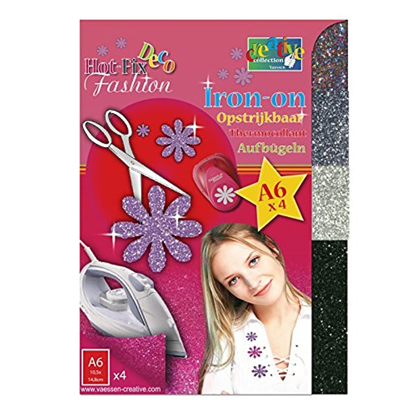 Vaessen Creative Hot-Fix Glitter Transfer 14,8x10,5cm x4 Sheets, Multi-Colour, 14.8x10.5x0.1 cm