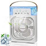 Portable Air Conditioner Fan, Mini Evaporative Air Cooler With 7 Colors LED Light,Timer, 3 Wind Speeds,3 Spray Modes and 600ml large tank for Office, Home,Bedroom, Dorm, Travel