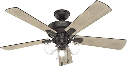 """discount Hunter Crestfield popular Indoor Ceiling Fan with LED Lights and Pull Chain Control, 52"""", outlet online sale Noble Bronze online"""