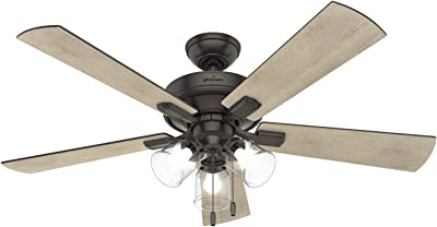 """Hunter Fan Company 54205 Crestfield Indoor Ceiling Fan with LED Lights and Pull Chain Control, 52"""", Noble Bronze Finish"""