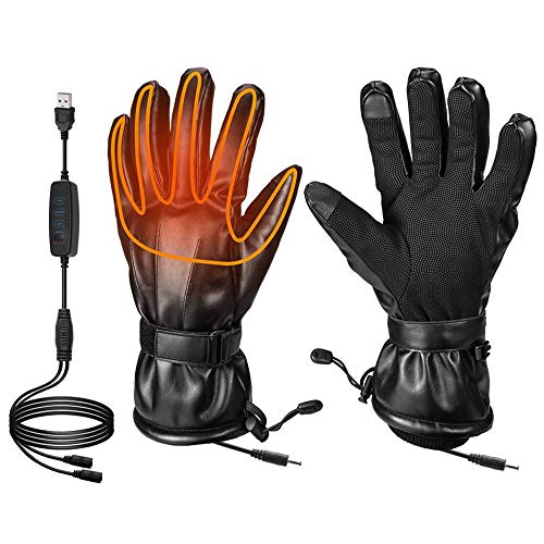 Heated Gloves for Men Fingers Hands Warmer for Ski Motorcycle Hiking Hunting Electric Heated Gloves Windproof for Winter Powered by USB Power Bank Battery(Not Include Battery) (M)