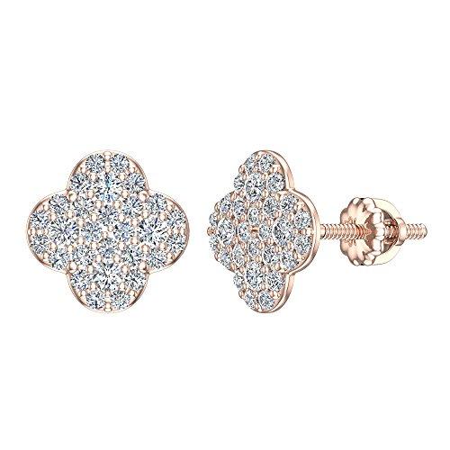 Orecchini a perno a forma di quadrifoglio con pavé di diamanti, in oro massiccio 18 carati (G,VS) e oro rosa 14 ct, cod. GDE1146_VS_RG