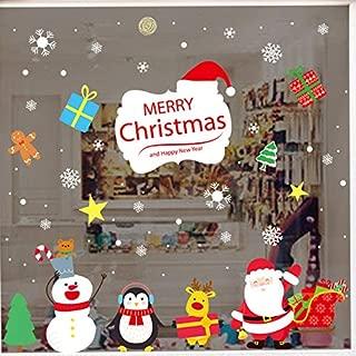 LONGTEN Merry Christmas Sticker Santa Claus Window Clings Decoration Christmas Tree Shop Mall Window Glass Wall Sticker Reindeer Christmas Snowman Snowflake Window Static Sticker Self-Adhesive (R)