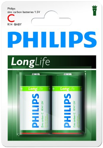 Philips R14L2B/10 LongLife Batteria, 1.5 V, 90 g, Verde/Bianco