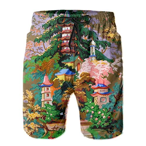 ZORIN Pantalones cortos de playa para hombre de la pagoda de Chinoiserie de la pintura china de la tabla de la playa
