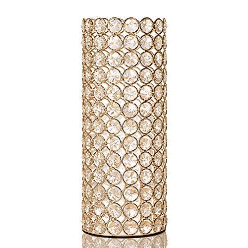 VINCIGANT Deko Vase Gold, Goldene Vase Dekoration Wohnung Hochzeit, Kristall 10.5 cm x 26.5 cm