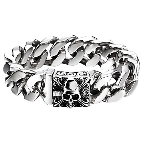 Flongo Herren-Armband Männer Armband Groß Panzerkette, Breit Edelstahl Armband Cuban Curb Kette Fahrradkette Silber Totenkopf Schädel Motorradfahrer Biker Herren-Accessoires