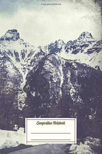 Composition Notebook: Snow On Mountains In The Italian Alps Textured Photog Composition Notebook for Students
