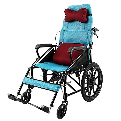 AILSAYA Half-lie Wheelchair High Backrest Semi-reclining Propulsion Wheelchair Self-propelled Light Folding, Portable, Portable, Comfortable, Stable And Firm Trolley For The Elderly