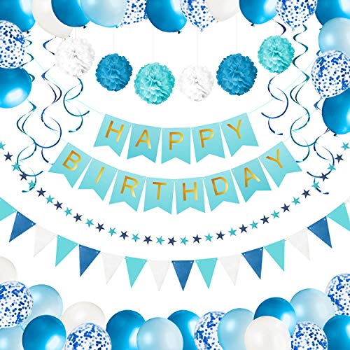 Kit Decoración Fiesta Cumpleaños Niño - Pancarta Happy Birthday, Pompones, Globos, Globos Confeti, Banderas, Serpentinas y Guirnalda - Conjunto Azul y Blanco para Celebración de Niño - 59 Piezas