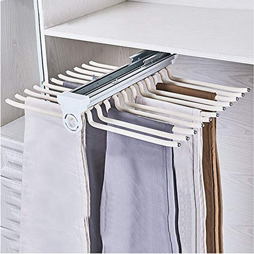 KDDFN Hosenauszug Kleiderschrank Kleiderbügel,Hanger Organizer,Multifunktionales Hosengestell,rutschfest,Platzsparend (Beige)