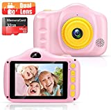 Voltenick Kids Camera Toys for Girls Boys 3.5Inch 12M 1080FHD Dual Lens Children Digital Cameras Kids Geat Birthday for Age 3-12 Year Old Girls Boys Toddlers with 32GB SD Card (Pink)