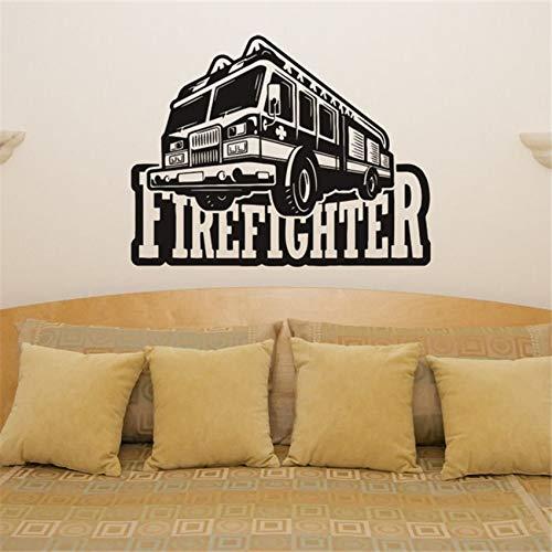 Geiqianjiumai Fire truck brandweerwagen vrachtwagen voertuig kunst kaart sticker foto poster muur sticker huisdecoratie verwijderbare vinyl sticker