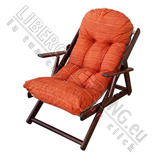 Poltrona Sedia Sdraio Relax in Legno Pieghevole Harmony Cuscino Super Imbottito H 100 CM Soggiorno Cucina Salone Divano (Arancio)