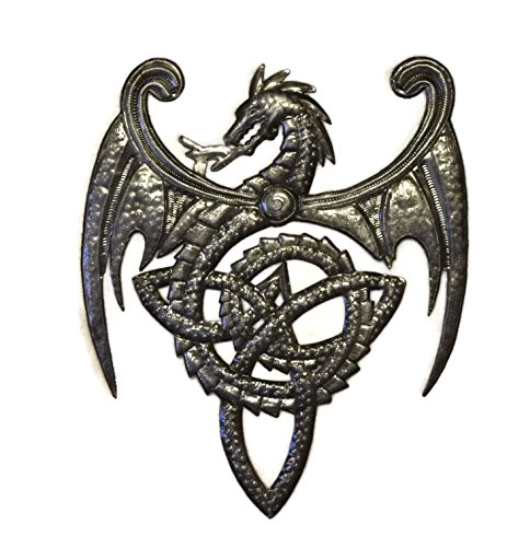 It's Cactus Dragon, Metal Wall Mounted Art, Mythical, Celtic, and Gothic Sculpture, 14 in. x 17 in.