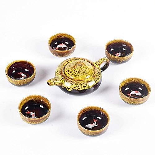 Juego de té chino Teteras Juego de té de la tarde Tetera Infusor de té Juego de té chino creativo Tetera de esmalte de cerámica Teaset de porcelana Tazas de té portátiles Ceremonia del té 7 piezas