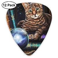ギターピック 12枚セット 神秘的な猫 それぞれ厚さ カラフル 3種類 0.46/0.71/0.96mm 収納ケース付 ティアドロップ型 Shape Guitar Picks ベース 練習 初心者