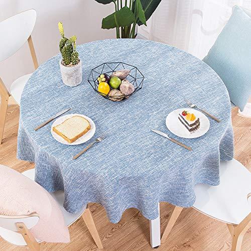 LPNJLALA Tovaglia Rotonda in Cotone e Lino in Stile Nordico Decorazione per tavolino da Salotto, Celeste, rettangolo 130x180 cm