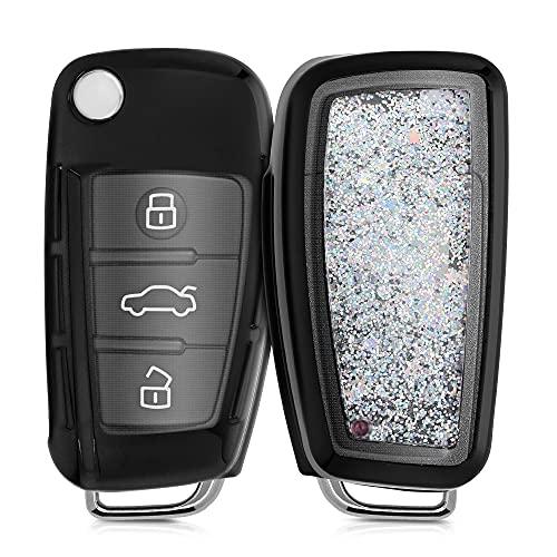 kwmobile Funda Compatible con Audi Llave de Coche Plegable de 3 Botones - Carcasa Protectora Suave de Silicona - Case para Mando - Purpurina y Estrellas
