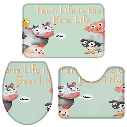 Bath Rugs for Bathroom Set 3 Piece-Farm Life is Best Life Cow Animal Pattern,Non-Slip Washable Memory Foam Absorbent Bath Mat Runner Rugs for Tub Shower,U-Shaped Toilet Floor Mats,Toilet Lid Cover