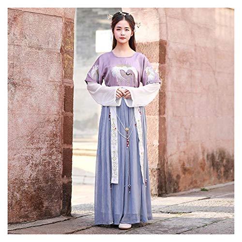 Falda de estilo antiguo chino bordado de grúa tradicional H