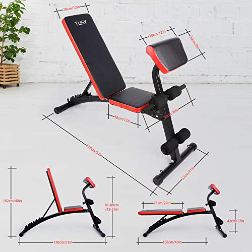 TUSY Adjustable Weight Bench for Full Body Workout Multi-Purpose Utility Weight Bench Flat Bench Press for Home and Gym
