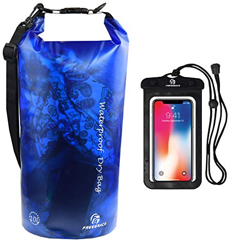 Waterproof Dry Bag - Transparent Lightweight Dry Sack with Strap, Seals and Waterproof Case - Float on Water - Keeps Gear Dry for Kayaking, Beach, Rafting, Boating, Hiking, Camping (Blue) 10L