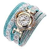 chiwanji Damen Uhr Analog Quarz Armbanduhr Strass Armband Armschmuck Wickelarmband Uhren Jewelry - Grün