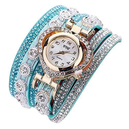Sharplace Damen Uhr Strass Armbanduhr Frauen Armband Uhr Mädchen Mode Uhren Damenuhren Quarzuhr - Grün
