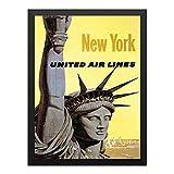 装飾画 ニューヨークユナイテッド航空のヴィンテージ旅行 ポスター 部屋飾り インテリア絵画 木製黒フレーム付 部屋装飾 新築祝い 贈り物 A4(33x24cm)