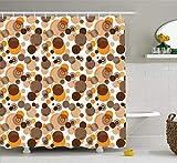 Duschvorhang in Erdtönen, abstraktes Pastellmuster mit überlappenden chaotischen Stellen & Ringformen, Badezimmerdekorset aus Stoff mit Haken, Orangebraun