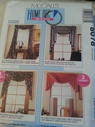 McCalls 8078 Curtains Home Decor Swag, Jabot, Valance Victorian