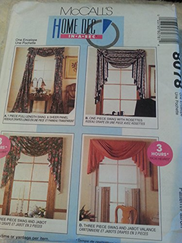 McCalls 8078 Curtains Home Decor Swag, Jabot, Valance Victorian