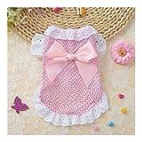 DDSP Vestido de Perro Arco Floral del cordón del algodón del Animal doméstico for Vestidos de Novia Ropa de Perrito del Gato Ropa for Perros pequeños Perros de Verano Cotton (Color : Pink, Size : XL)