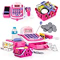 Prextex Pretend Play Electronic Toy Cash Register STEM Toy with Mic Speaker and Play Money Included for Kids by Prextex