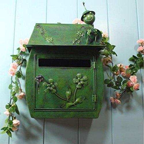Liuyu · Lebendes Haus Mailbox Klassische Villa ländlichen Retro hängen Wand mit Schloss Briefkasten Postbox wasserdicht im Freien (Color : Green)